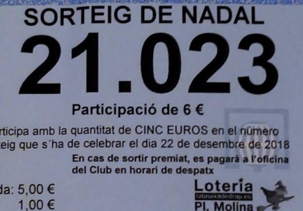 Loteria: el premi del número del Club es pagarà a partir del 2 de gener