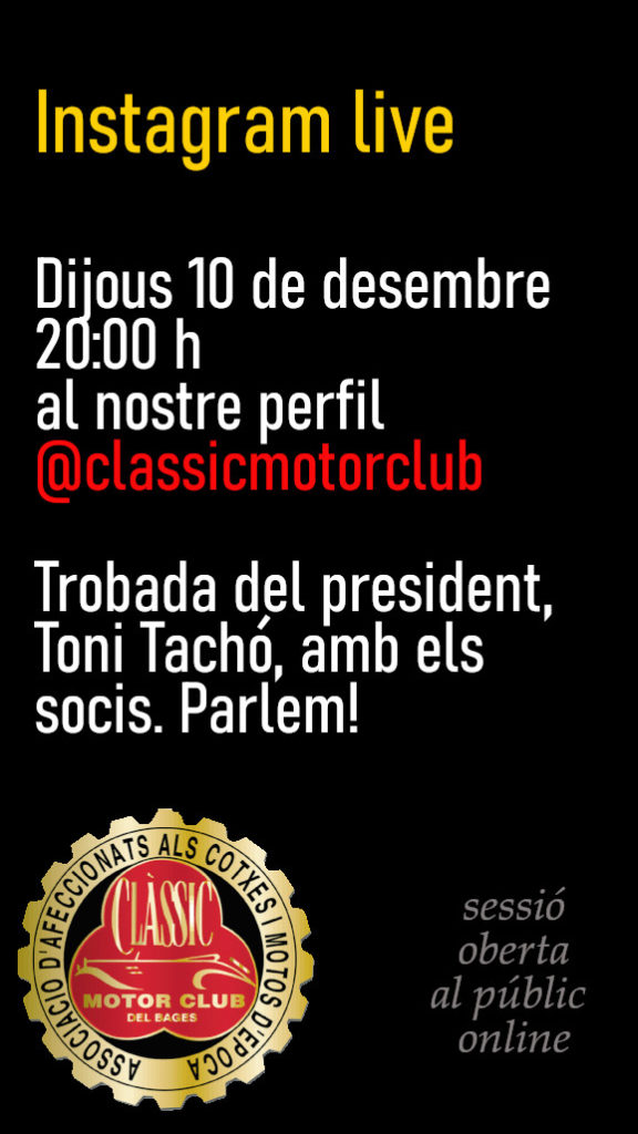 Trobada virtual amb el president al perfil d'Instagram del Clàsssic